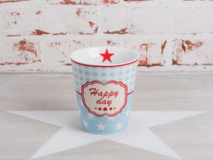 Krasilnikoff Happy Mug Becher HAPPY DAY Blau Sterne weiß Stern rot