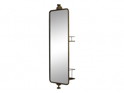 Chic Antique Spiegel mit Regal 80 cm Wandspiegel 2 Regale auf Rückseite drehbar