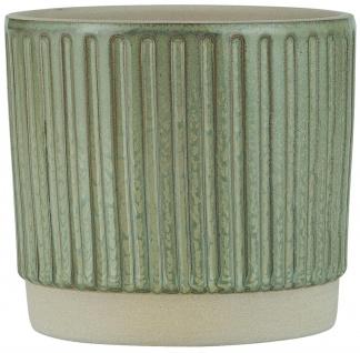 IB Laursen Blumentopf Grün Rillen 11 cm Keramik Übertopf Pflanztopf H 10.5