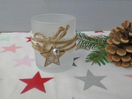 Windlicht OLINE Weiß Matt 8 cm Glas Holz Deko STERN Weihnachtsdeko Weihnachten
