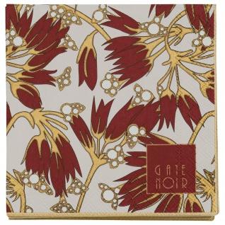 Gate Noir GreenGate Servietten FLORETTE Bordeaux weiß Blumen 12.5 cm Papier