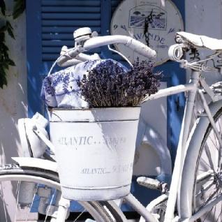 Ambiente Servietten SUMMER LAVENDER Weiß Lila Fahrrad Eimer Lavendel 20 Stk 33x3