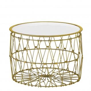 Bloomingville Beistelltisch KORB Gold Weiß Tisch Rund D 47 H 34 cm Metall