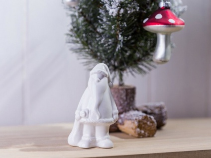 Weihnachtsmann mit Sack Porzellan weiß Weihnachtsdeko Deko Objekt Aufsteller