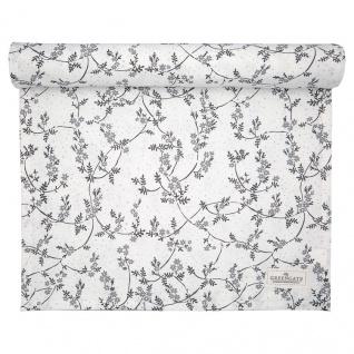 Greengate Tischläufer AMIRA Weiß Grau Blumen Baumwolle 45x140 cm Tischdecke