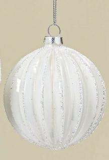 Weihnachtskugel SARAH Weiß Streifen Weihnachtsdeko Tannenbaum Christbaumkugel
