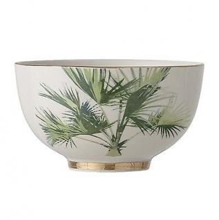 Bloomingville Schale Aruba mit Palme Keramik Geschirr Schüssel Goldrand