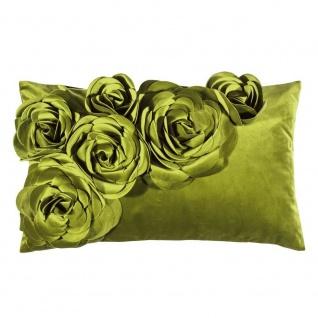 Pad Kissen FLORAL Hellgrün Blumen Kissenhülle Samt Grün Kissenbezug 30x50