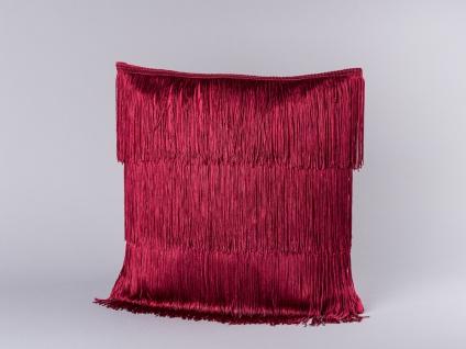Bloomingville Kissen Rot Fransen 40x40 mit Füllung dunkelrot