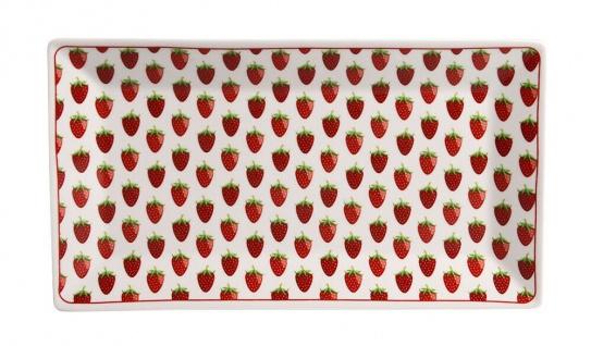Krasilnikoff Tablett Teller ERDBEEREN Rosa Porzellan Teller Eckig 14x25 cm