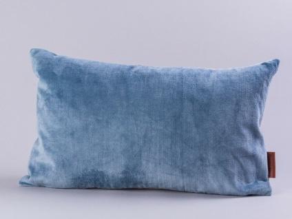 Cozy Living Kissen Samt hellblau Baumwolle grau 30x50 mit Füllung