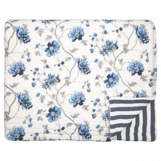 Greengate Quilt CHARLOTTE Weiß Blau 140x220 Tagesdecke Baumwolle Decke Überwurf