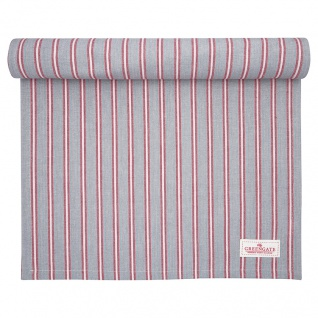 Greengate Tischläufer RILEY Grau Rot Streifen Baumwolle 45x140 cm Tischdecke