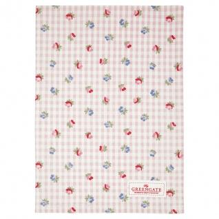 Greengate Geschirrtuch Viola Rosa Karo mit Blumen Baumwolle 50x70 Küchentuch