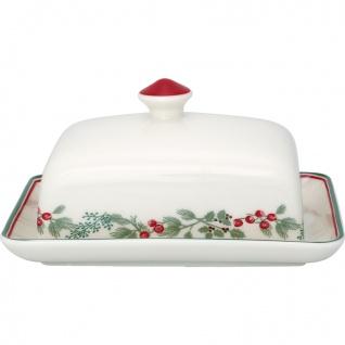 Greengate Butterdose CHARLINE Weiß Rot Porzellan Geschirr mit Blumen 12x16 cm