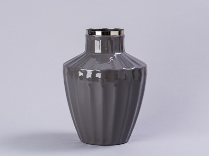 Cozy Living Vase Josefine Dunkelgrau Silber 23 cm Blumenvase Retro Vase Metall