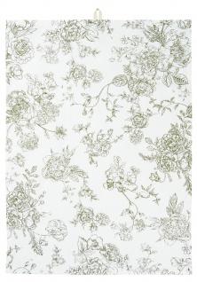 IB Laursen Geschirrtuch Blumen Grün Baumwolle Geschirrhandtuch 50x70 Küchentuch
