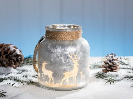 Windlicht WINTERWALD Silber Weiß matt Glas 16 cm Weihnachten mit Kordel HIRSCH