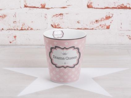 Krasilnikoff Happy Mug Becher DRAMA QUEEN Rosa pink Blumen weiß Krone gold