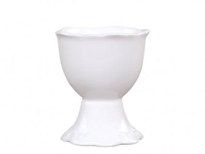 Chic Antique Eierbecher PROVENCE Porzellan Geschirr Weiß 5x6 cm mit Fuß