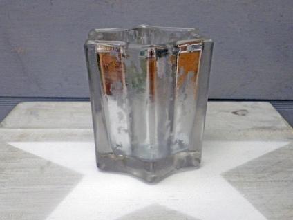 Windlicht STAR Weiß 8 cm STERN Form Teelicht Glas Weihnachtsdeko Kerzenhalter