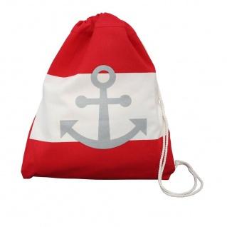 Krasilnikoff Rucksack Anker rot weiß Streifen maritim Tasche Baumwolle