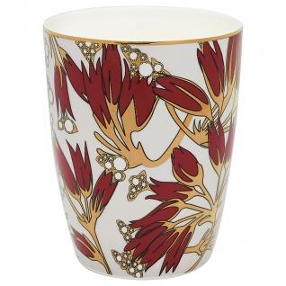 Greengate Latte Cup FLORETTE bordeaux Blumen Goldrand Gate Noir Becher Porzellan