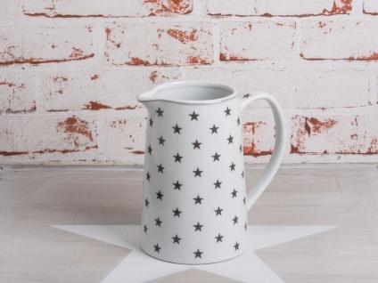 Krasilnikoff Krug STAR Dunkelgrau Kanne weiß STERNE grau Porzellan Karaffe 850ml