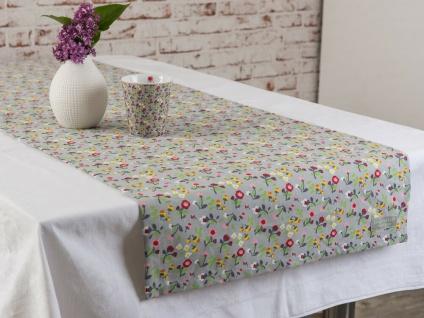 Krasilnikoff Tischläufer MILLE FLEURS Grau Bunte Blumen Tischdecke 50x150