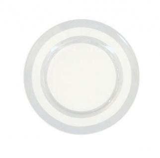 Krasilnikoff Kuchenteller STREIFEN Hellgrau Teller grau weiß gestreift Porzellan