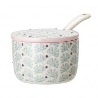 Bloomingville Dose MAYA Deckel Keramik 110 ml türkis Marmeladentopf Zuckerdose
