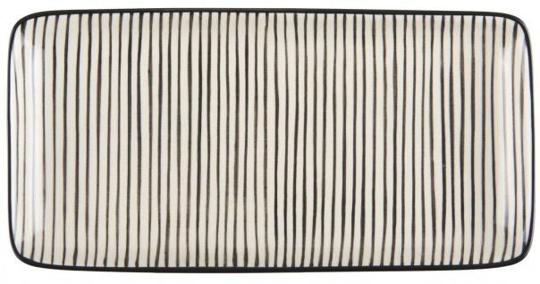 IB Laursen Casablanca Tablett Teller schwarz weiß Streifen Geschirr Keramik ecki