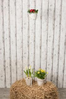 Gartenstecker FIONA für Windlicht Pflanztopf Halter Gartenstab weiß Metall