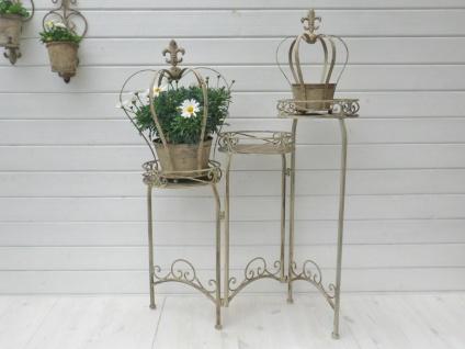 Etagere VALERIE Metall Blumen Hocker Pflanzen Regal creme weiß 3 Etagen 72 cm