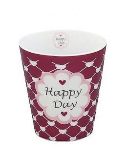 Krasilnikoff Becher Happy Mug HAPPY DAY Pflaume Herzen Tasse Porzellan Geschirr