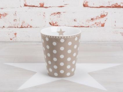Krasilnikoff Happy Mug Becher PUNKTE Taupe weiß Tasse Porzellan