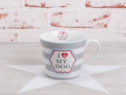 Krasilnikoff Tasse Happy Cup Becher I LOVE MY DOG Hellgrau mit Streifen weiß