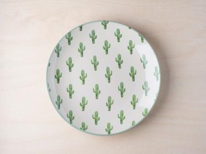 Bloomingville Teller JADE Kuchenteller mit KAKTUS weiß Kakteen grün Keramik 20cm