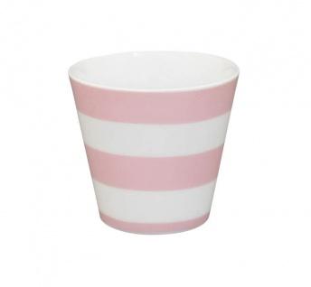 Krasilnikoff Espresso Tasse STREIFEN Rosa Porzellan Becher weiß pink gestreift