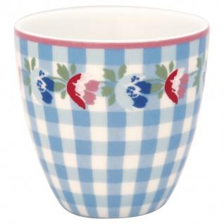 Greengate MINI Latte Cup VIOLA Blau Karo mit Blumen Espresso Tasse 130 ml