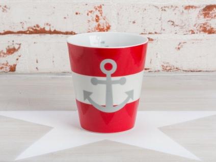 Krasilnikoff Becher Happy Mug ANKER Rot maritim Tasse Porzellan Kaffeebecher
