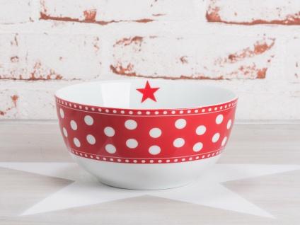 Krasilnikoff Schale Happy Bowl PUNKTE Rot weiß gepunktet Müslischale Porzellan