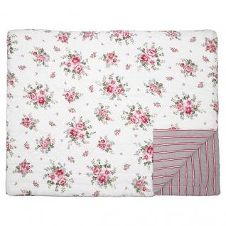 Greengate Quilt ELOUISE Weiß Rot 250x260 Tagesdecke Baumwolle Decke Überwurf
