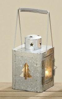Laterne Maria 15 cm Metall Gartenlaterne mit Tannenbaum Stern Zink Optik Windlic