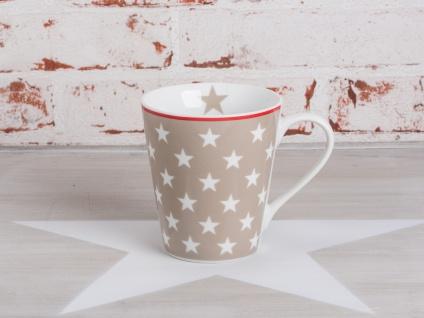 Krasilnikoff Happy Mug Henkel Becher STERNE Taupe Weiß Porzelln Kaffeebecher