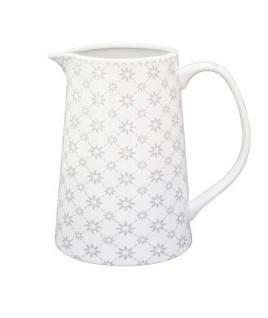Krasilnikoff Milchkännchen BLUME DIAGONAL hellgrau weiße Blumen grau Porzellan