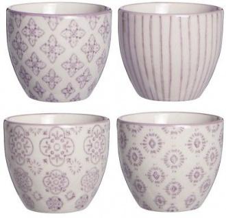 IB Laursen Casablanca Eierbecher lila weiß 4er Set Blumen Geschirr Keramik