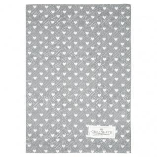 Greengate Geschirrtuch PENNY Grau mit Herzen Baumwolle 50x70 cm Küchentuch