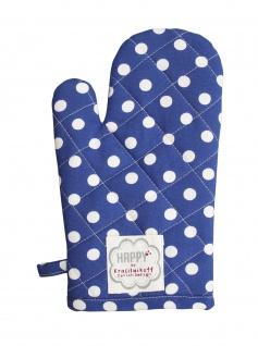 Krasilnikoff Ofenhandschuh Punkte dunkelblau Baumwolle Topflappen weiß blau gepunktet