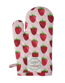 Krasilnikoff Ofenhandschuh ERDBEEREN Rosa Baumwolle mit rotem Erdbeer Motiv